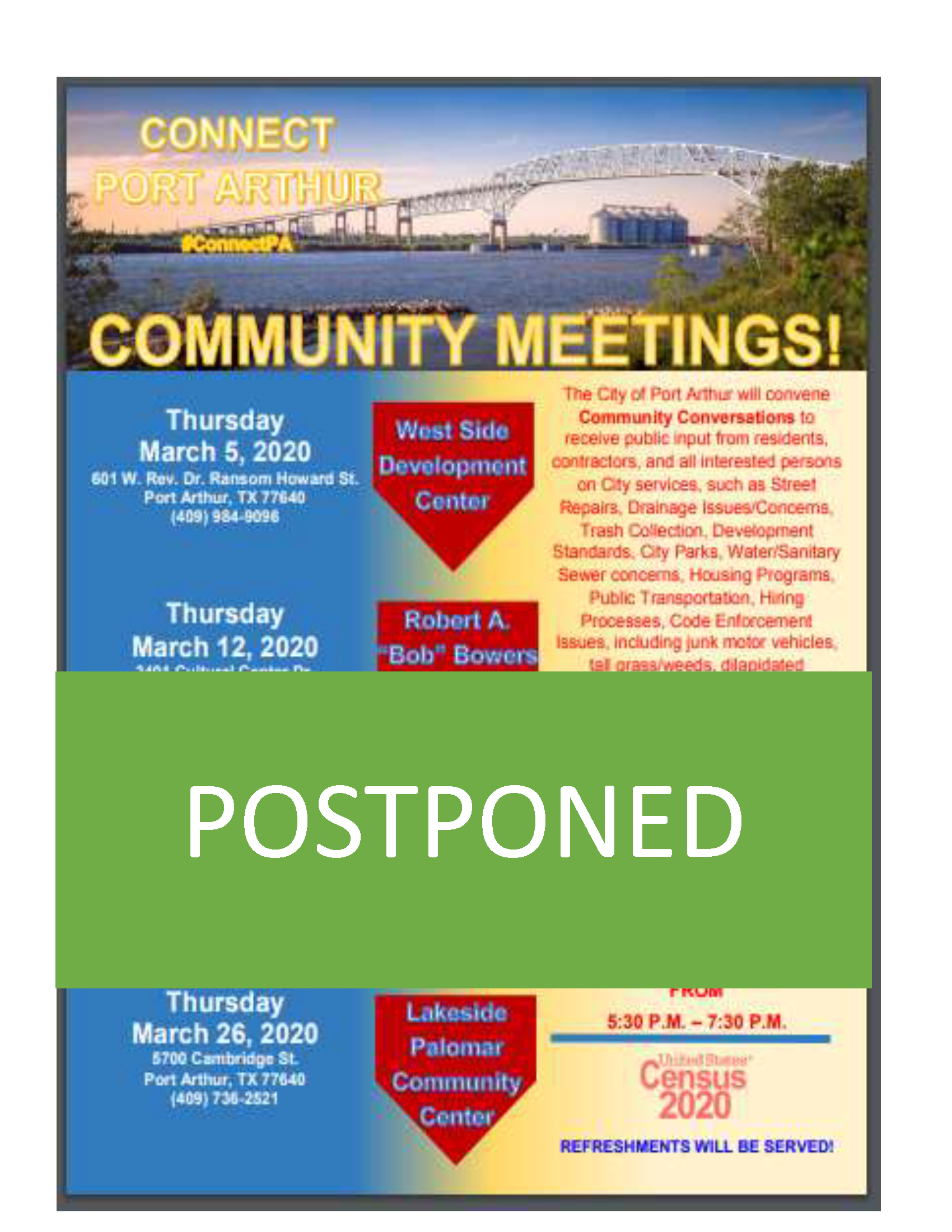 Community Meetings Cancellation