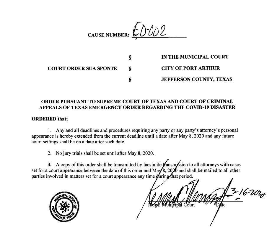 Municipal Court Judge Morrison-Emergency Order