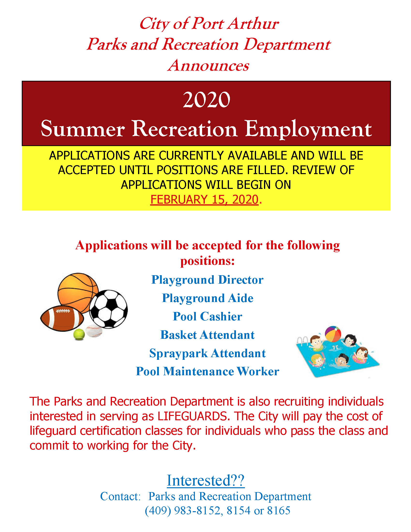 Summer Recreation Employment Flyer-2020