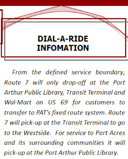 Route 7 Service Area information