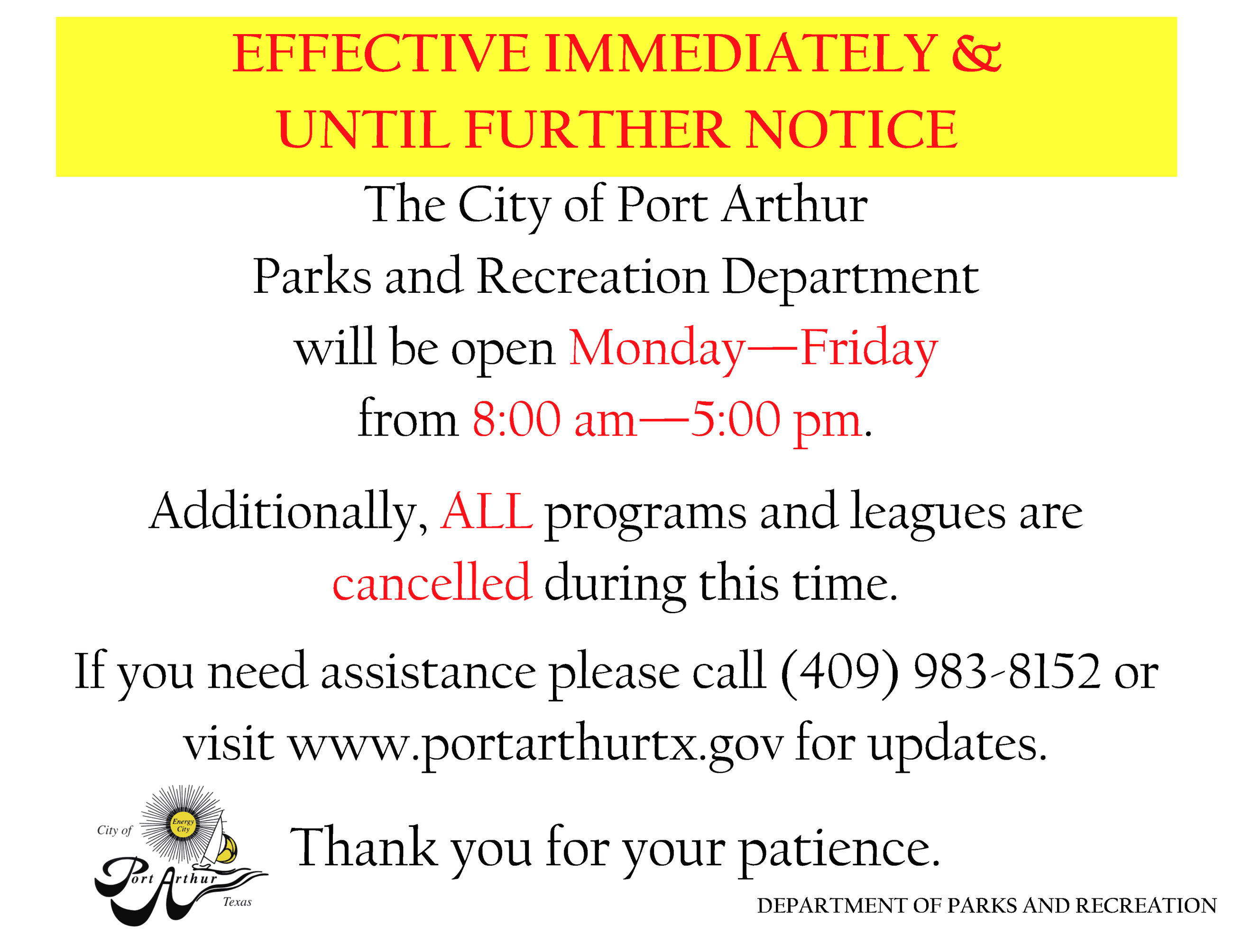 New Hours-March 2020 PARD